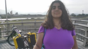 Photo of myself cycling across Tama Lake. Sadly I was unable to find the main bridge that is only for cyclists and pedestrians (it's much prettier than the one I cycled on) but this one was also nice cycling across.